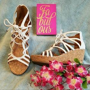 Cute white strappy tie & zip cork wedge sandals